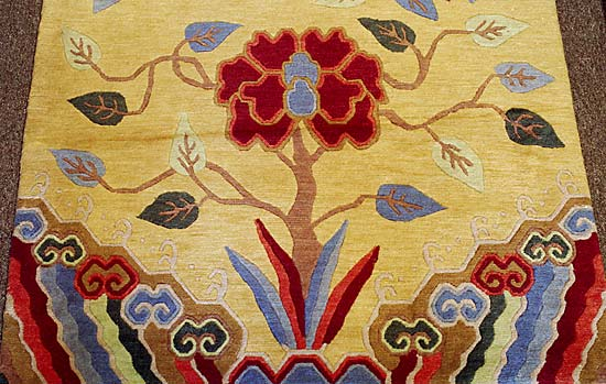 nepali rug gold with tree