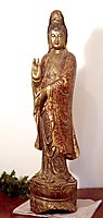 quan yin sculpture red and gold